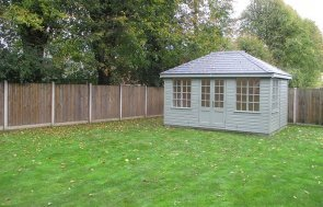 3.0 x 4.2m Cley Summerhouse in Exterior Lizard Paint with Grey Slate Effect Tiles on the Hipped Roof