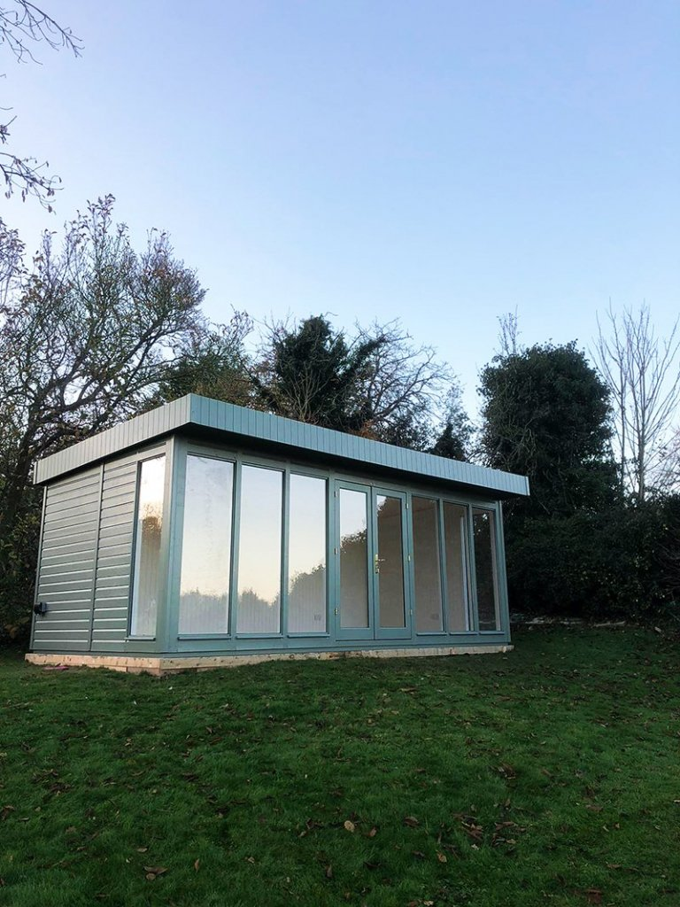 3.0 x 6.0m Salthouse Studio painted in Farrow & Ball Card Room Green