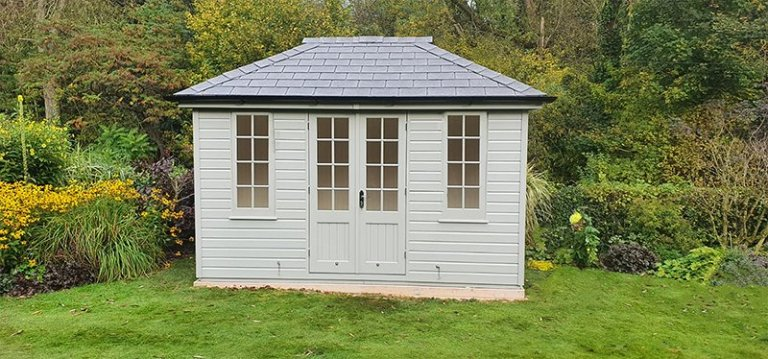 2.4 x 3.6m Cley Summerhouse in Exterior Pebble Paint with Georgian Windows