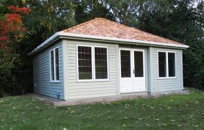 5.4 x 6m Garden Room painted in two-tone Farrow & Ball French Gray & Pointing