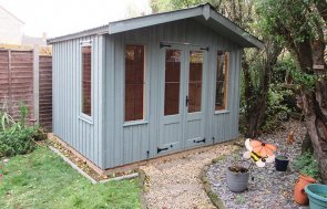 3.0 x 2.4m Ickworth National Trust Summerhouse with Apex Roof painted in Terrace Green