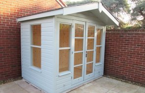 2.4 x 2.4m Blakeney Summerhouse in Exterior Lizard Paint with Grey Slate Effect Tiles on the Apex Roof