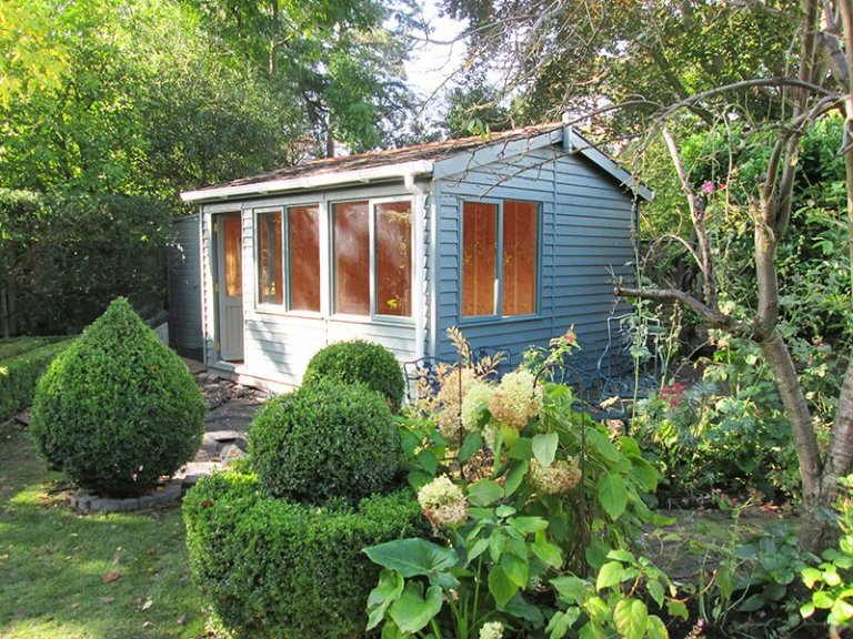 3.6 x 4.2m Langham Studio with Apex Roof painted in Farrow & Ball Green Smoke