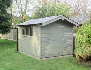 Superior Shed with a roof overhang and painted in Exterior Ash