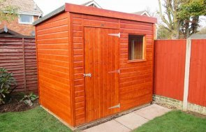 1.8 x 2.4m Superior Shed treated with a Mahogany Sikkens wood stain