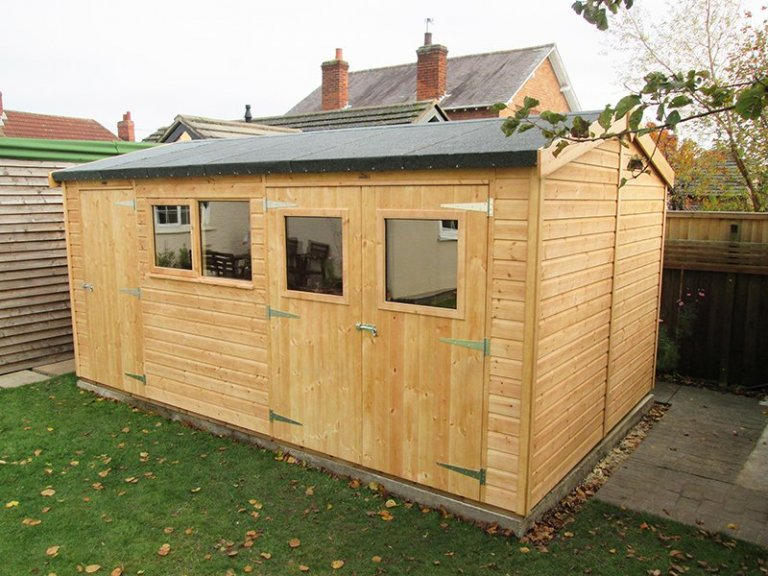 3.0 x 4.8m Superior Shed in Light Oak with Apex Roof