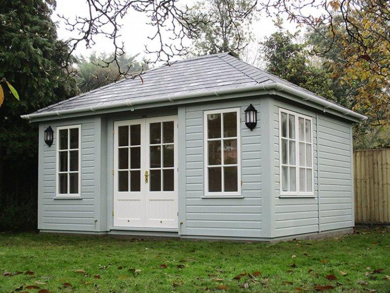 3.6 x 4.8m Garden Room in two-tone Exterior Verdigris & Ivory with Georgian Windows