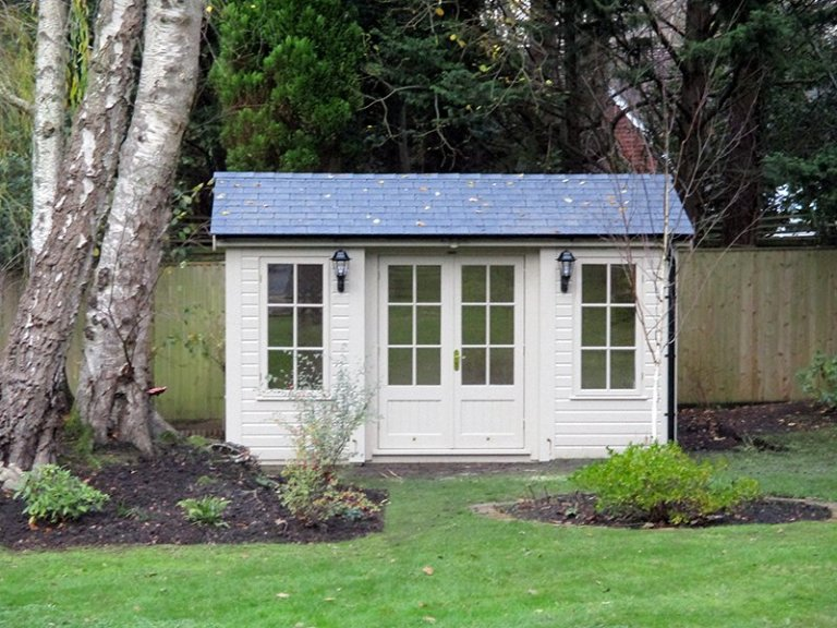 3.0 x 4.2m Apex Garden Room painted in Farrow & Ball Old White with Grey Slate Effect Tiles on the Roof