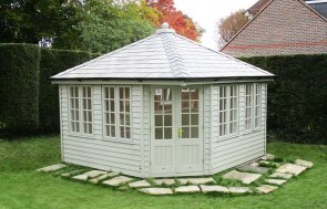 3.6 x 3.6m Weybourne Summerhouse painted in Farrow & Ball Pigeon