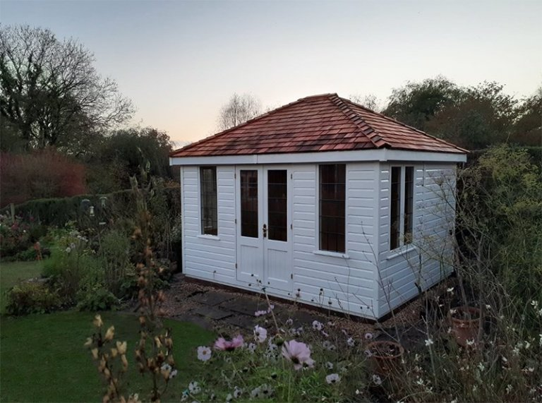 3.0 x 3.6m Cley Summerhouse painted in Exterior Cream