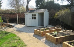 1.8 x 3.0m Blickling National Trust Shed with Apex Roof in Disraeli Green