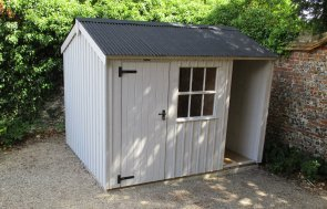 2.4 x 3.0m Blickling National Trust Shed with Apex Roof painted in Earls Grey