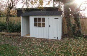 1.8 x 3.6m Blickling National Trust Shed in Disreali Green with Apex Roof