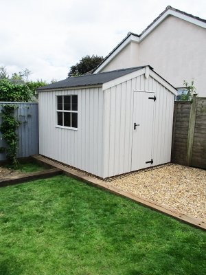 2.4 x 3.0m Peckover National Trust Shed in Earls Grey with Apex Roof