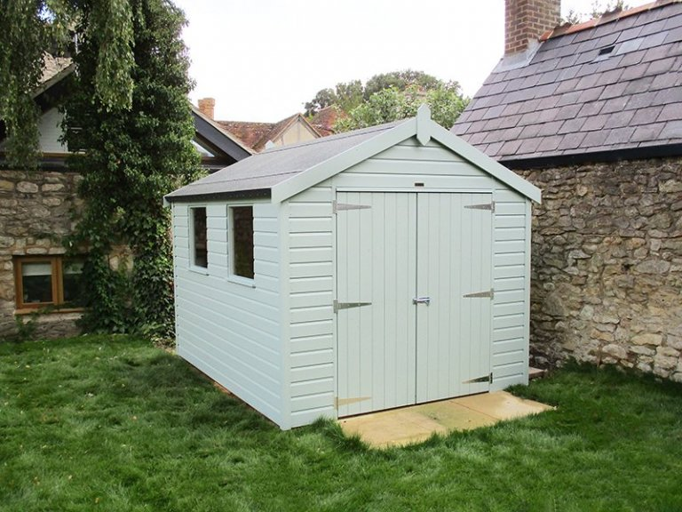 2.4 x 3.0m Classic Shed with Apex Roof painted in Seagrass