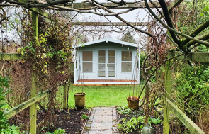3.6 x 3.6m Morston Summerhouse in Exterior Verdigris Paint