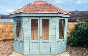 2.4 x 3.0m Wiveton Summerhouse in Exterior Sage Paint with Leaded Windows