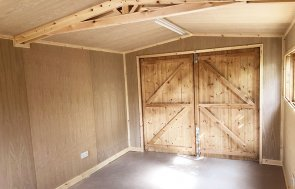 An Insulated 3.0 x 4.8m Garage lined with Oak Faced Ply