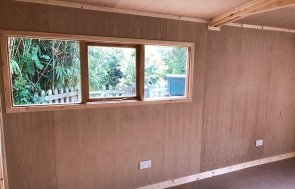 Insulated Interior of a 3.0 x 4.8m Garage lined with Oak Faced Ply