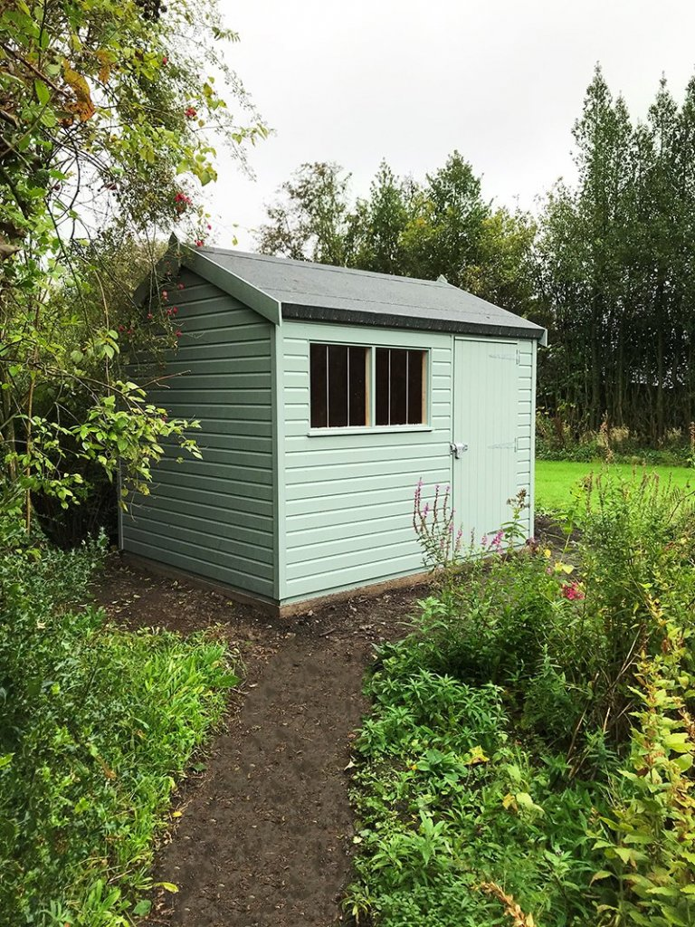 2.4 x 3.0m Apex Roof Superior Shed painted in Exterior Sage