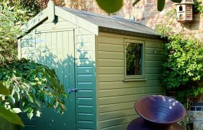 1.5 x 2.1m Classic Shed with Apex Roof painted in Classic Moss