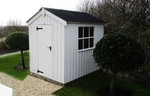 1.8 x 2.4m Peckover National Trust Shed painted in Earls Grey