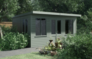 Thornham Summerhouse painted in Sage - Render