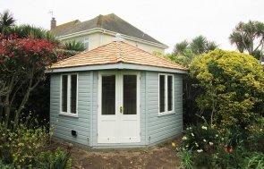 3.0 x 3.0m Weybourne Summerhouse in two tone Exterior Verdigris & Ivory
