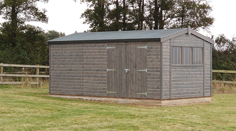 3.0 x 5.4m Superior Shed with Apex Roof in Sikkens Grey