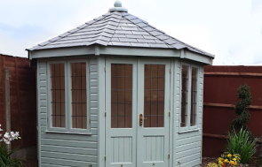 3.0 x 3.0m Wiveton Summerhouse in Exterior Verdigris with Grey Slate Effect Tiles on the roof