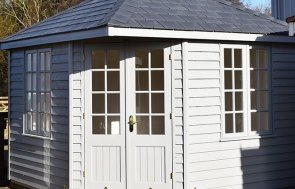 3.0 x 3.0m Weybourne Summerhouse at Narford in Exterior Pebble Paint