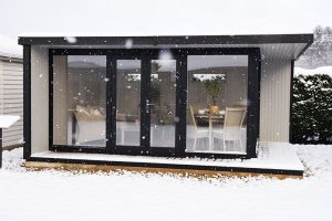 Holt Studio at our Narford show centre in the snow