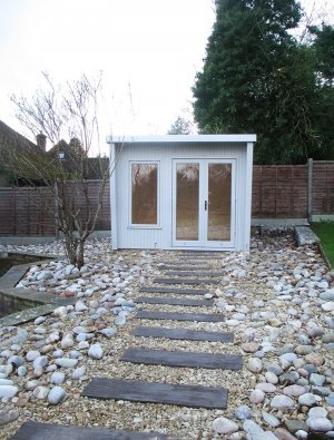 2.4 x 3.0m Classic Office Painted in Smoke with stylish pent roof design