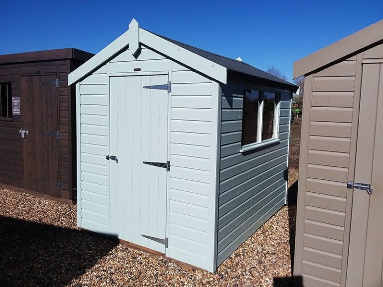 Exterior of Brighton's 1.8 x 2.4m Classic Shed in Seagrass