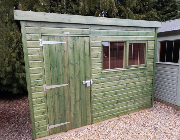 Burford's 1.8 x 3.0m Sikkens Green Superior Shed