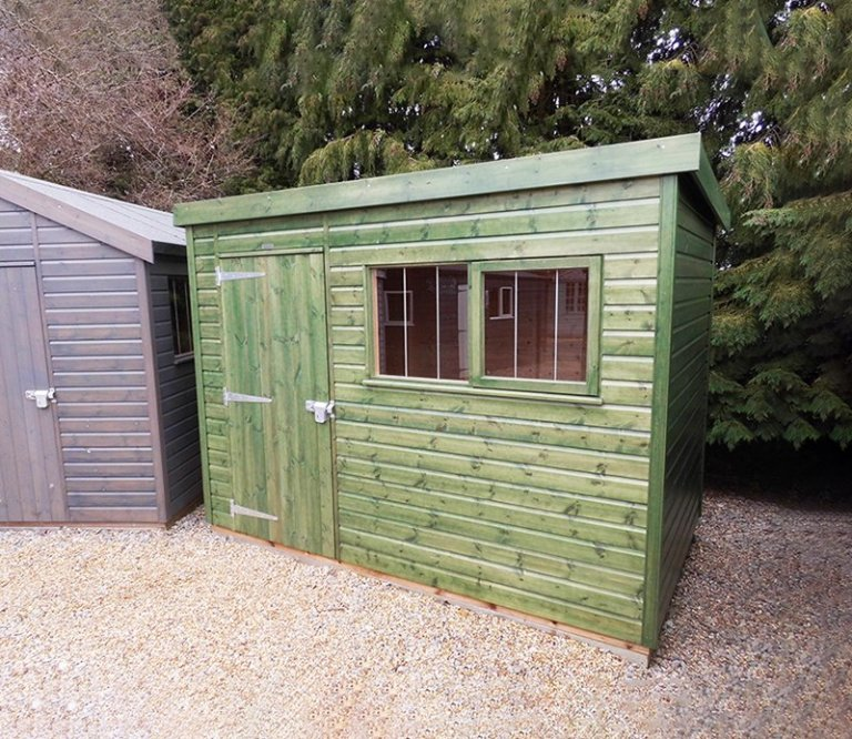 Burford's 1.8 x 3.0m Superior Shed in Sikkens Green