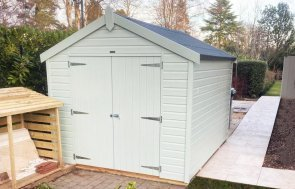 2.4 x 3.0m Classic Shed in Seagrass with Apex Roof Design