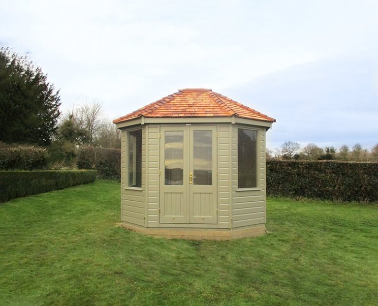 2.4 x 3.0m Classic Summerhouse in Stone with painted interior