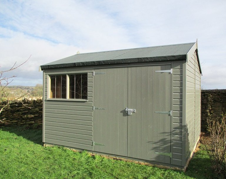 3.0 x 3.6m Superior Shed in Exterior Ash Paint with an Apex Roof Design