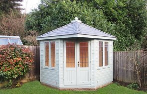 2.4 x 2.4m Weybourne Summerhouse in Exterior Sage Paint with Leaded Windows