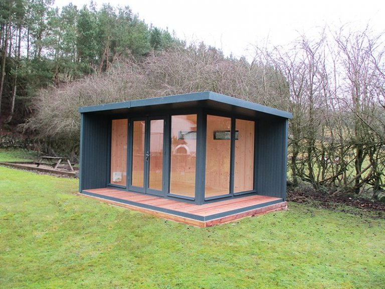 3.2 x 4.4m Holt Studio in Exterior Slate Paint with Pent Roof covered in Heavy Duty Felt