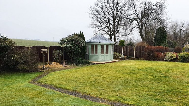 3.0 x 3.0m Wiveton Summerhouse in Exterior Lizard Paint with Grey Slate Effect Roof Tiles