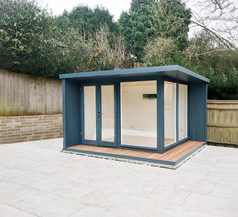 3.0 x 3.6m Holt Studio in Exterior Slate Paint with Pent Roof Design