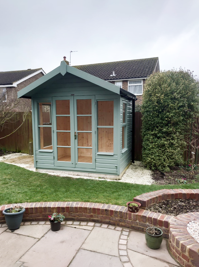 2.4 x 1.8m Blakeney Summerhouse in Exterior Sage Paint with smooth shiplap cladding