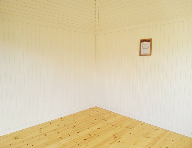 Inside St Albans' 3.0 x 3.0m Weybourne Summerhouse with Ivory Painted Matchboard