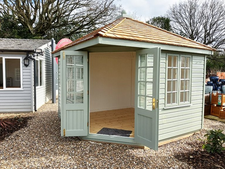 3.0 x 3.0m Weybourne Summerhouse in Exterior Lizard Paint at St Albans