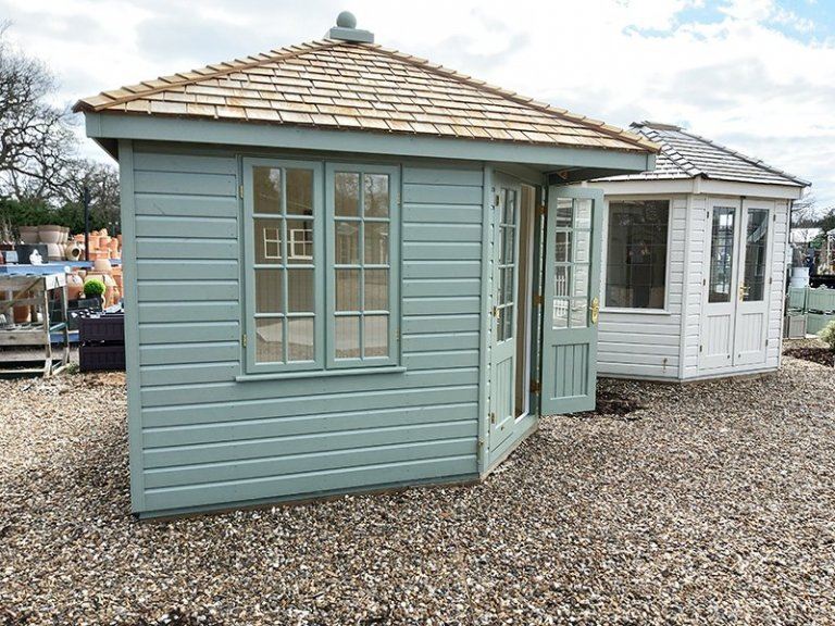 3.0 x 3.0m Weybourne Summerhouse at St Albans in Exterior Lizard Paint