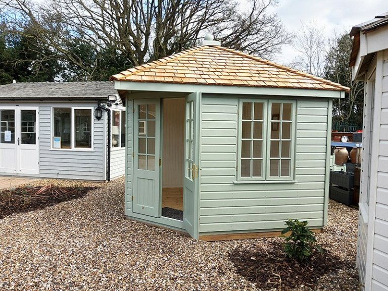 Exterior of St Albans' 3.0 x 3.0m Weybourne Summerhouse in Exterior Lizard Paint