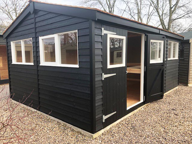 Nottingham's 3.6 x 5.4m Superior Shed in Exterior Black Paint