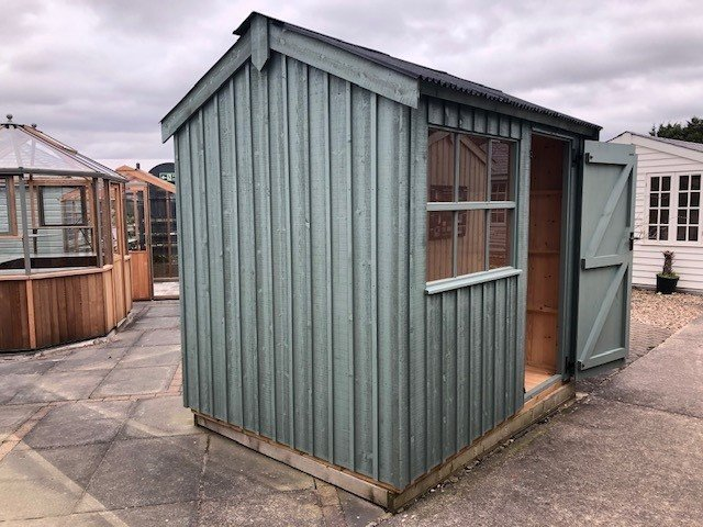 Nottingham's 1.8 x 2.4m Felbrigg National Trust Shed painted in Terrace Green